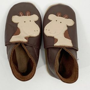 Baby Bobux  Brown Leather Giraffe Shoes Booties M
